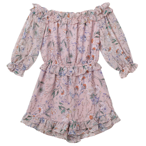 Alyssa Floral Playsuit - Dusty Pink