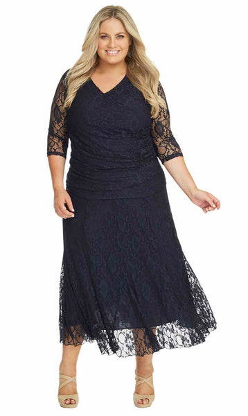 Plus Size Navy Lace Skirt & Top set