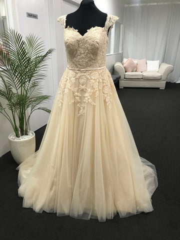 Plus size champagne wedding dress size 22