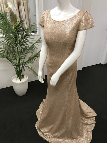 LD1040 NUDE/ CHAMPAGNE SEQUIN GOWN