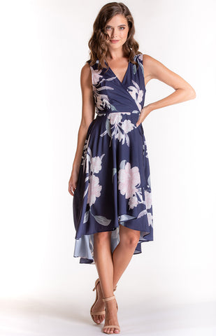 Floral Sleeveless Wrap Dress With Asymmetric Hemline (SDR507A)