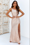 One shoulder gold sequin gown