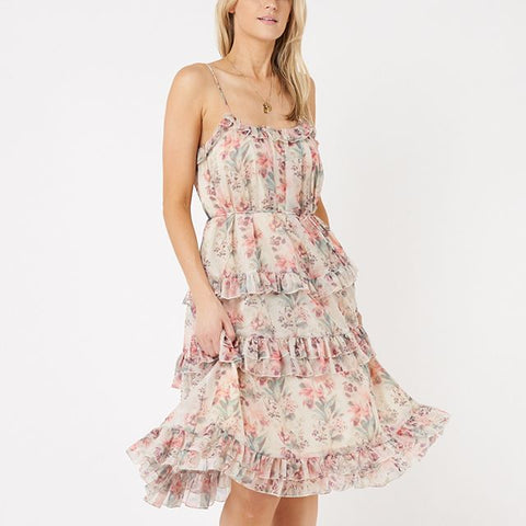 Spring floral tiered shoestring dress