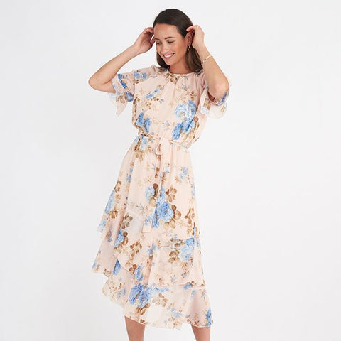 Floral Spring tiered dress with sleeves TF6991