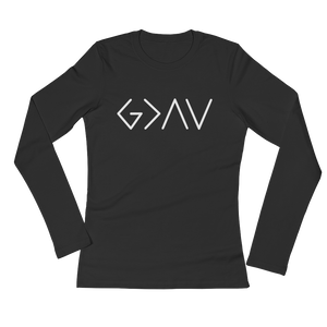 "Ladies' Long Sleeve ""God is Greater Than the Highs and Lows"" T-Shirt"