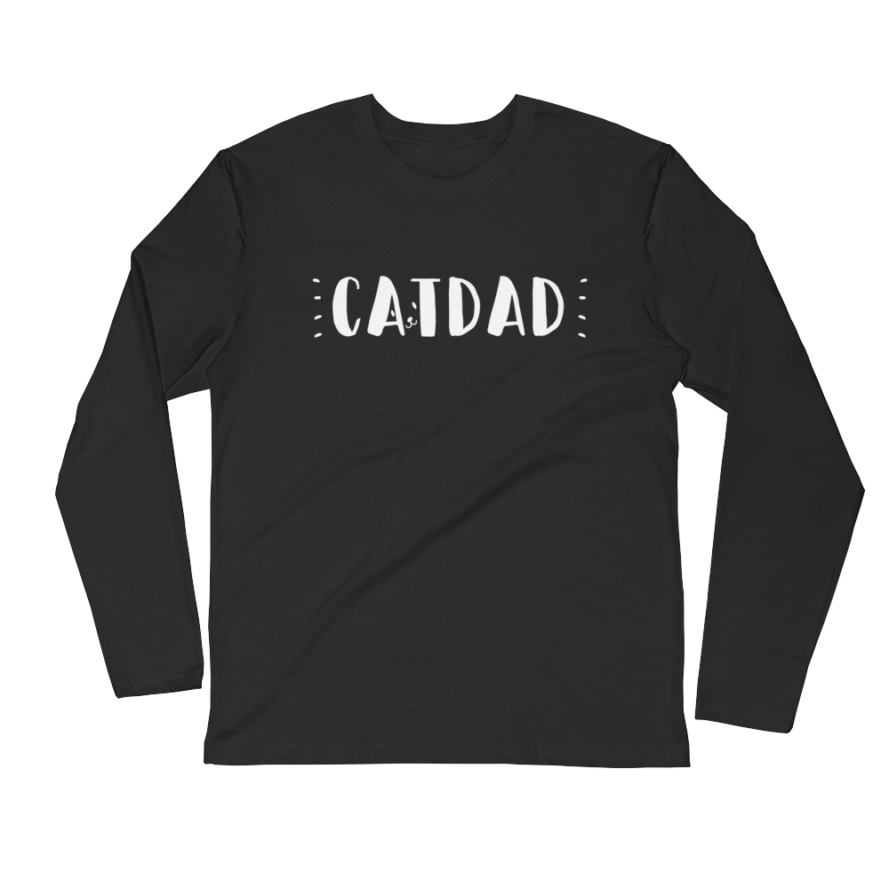 "Long Sleeve ""Cat Dad"" Fitted Crew"