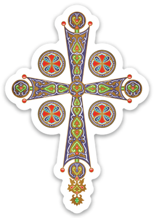Colorful Byzantine Cross Die Cut Cross Decal