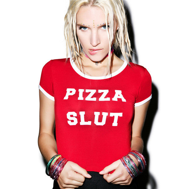 Pizza Slut Crop Tee - Tee - Medicated Mermaid