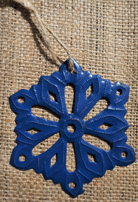 Dark Blue Snowflake Ornament - 5.5