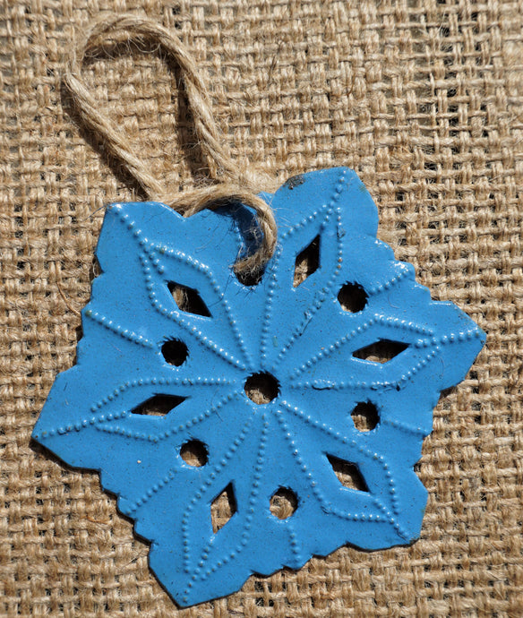Light Blue Snowflake Ornament - 3.5