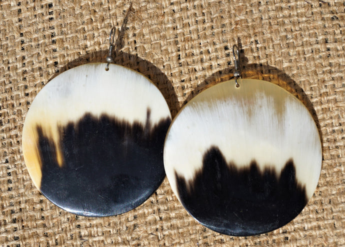 Cow Horn Circle Earrings