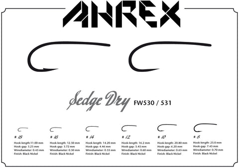 Ahrex FW530 Sedge Dry Barbed Hook