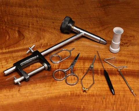 Fly Tying Material Kit with Economy Tools & Vise