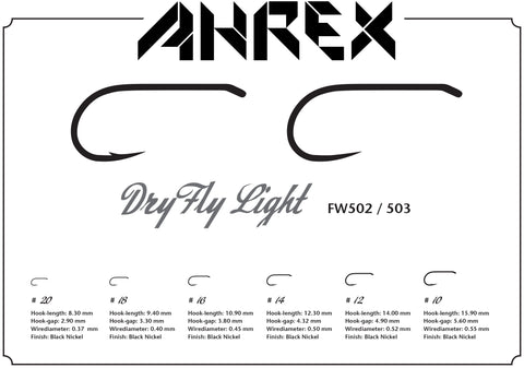 Ahrex FW503 Dry Fly Light Barbless Hook