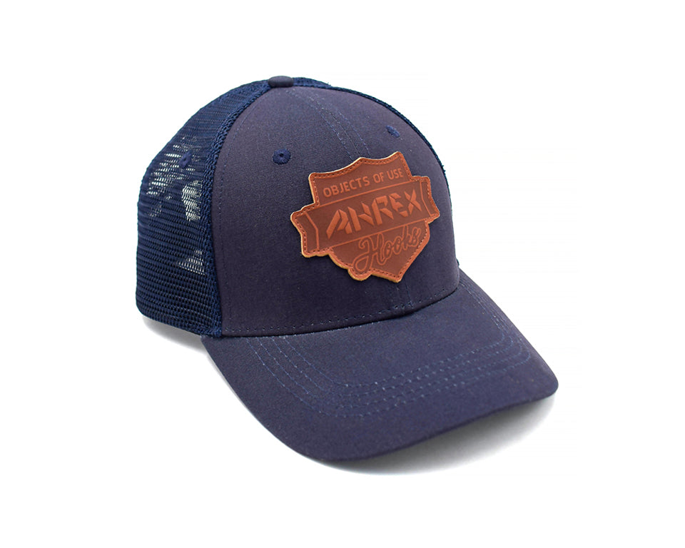 Ahrex Leather Patch Trucker Cap - Navy