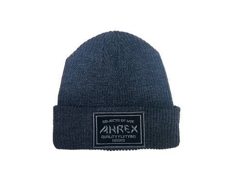 Image of Ahrex Ribbed Knit Woven Patch Beanie - Dark Grey