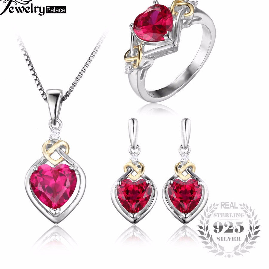 gold necklace red ruby heart qp ct pendant in white