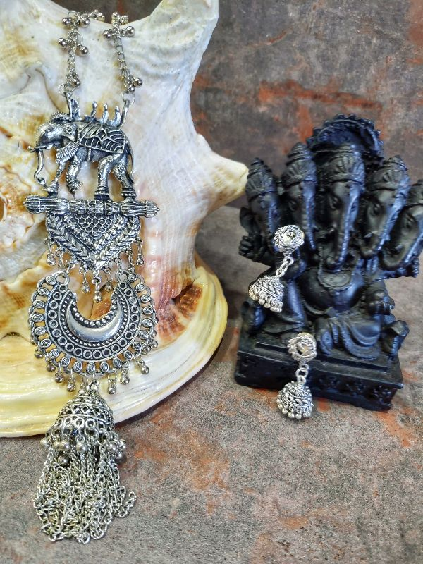 Ethnic Elephant Motif with Small Jhumki Jewellery Set