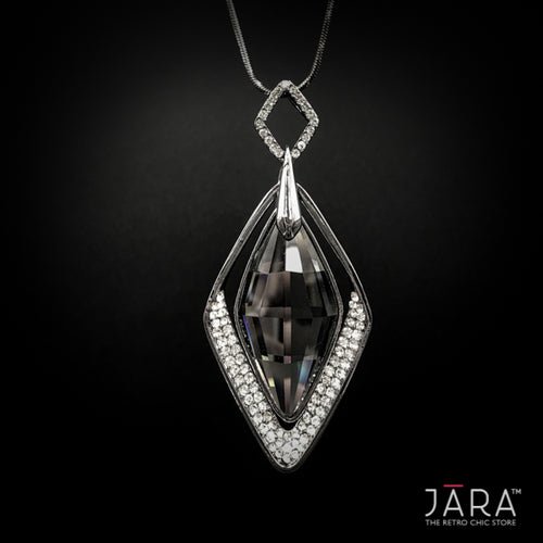 Black Crystal Long Chain Pendant Necklace