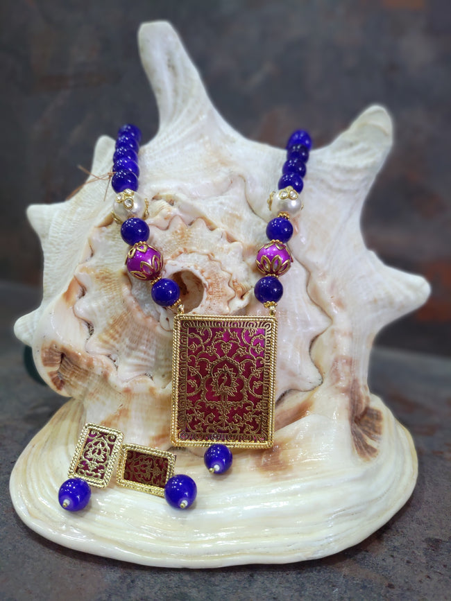 Blue & Purple Thewa Design Jewellery Set
