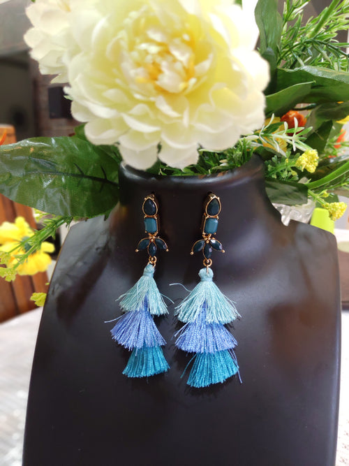 3 Tier  Blue Tassel Earrings