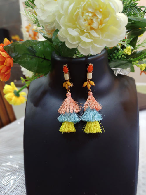 3 Tier  Yellow Tassel Earrings