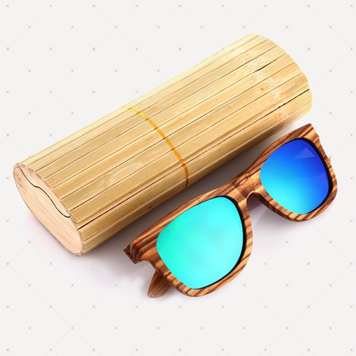 Retro Polarized Zebra Wood Sunglass (Green)
