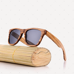 Retro Polarized Zebra Wood Sunglass (Grey)