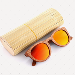Retro Polarized Zebra Wood Sunglass (Red)