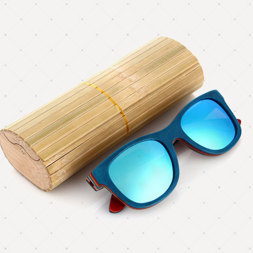 Retro Polarized Wood Sunglass (Ice Blue)