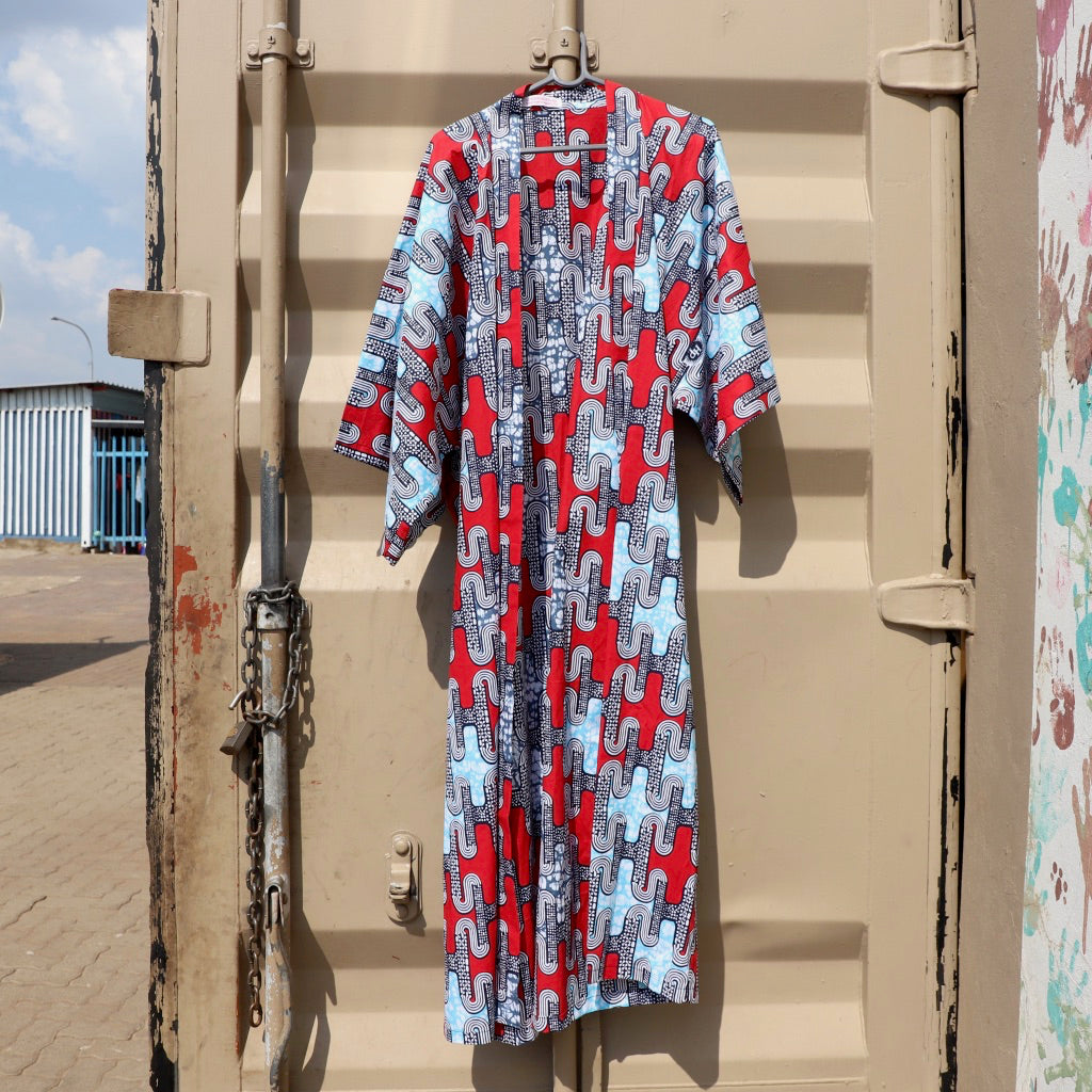 Red & Sky Blue African Print Kimono