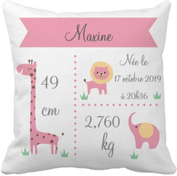 Coussin naissance Jungle Pink