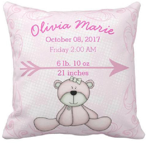 Coussin naissance ours rose