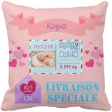 Coussin naissance coeur rose