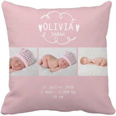 Coussin naissance rose