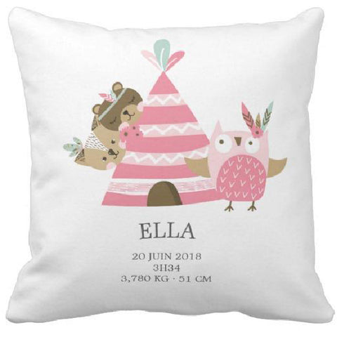 Coussin naissance tipi rose