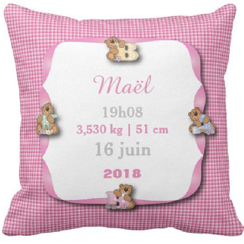 Coussin naissance Vichy rose