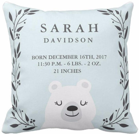 Coussin naissance ours blanc