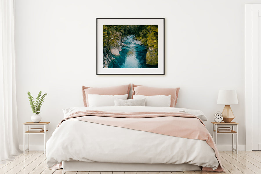 Blue Pools New Zealand Photo Print Black Frama