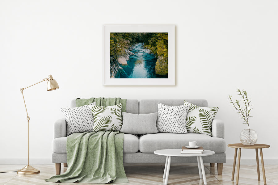 Blue Pools New Zealand Photo Print White Frame