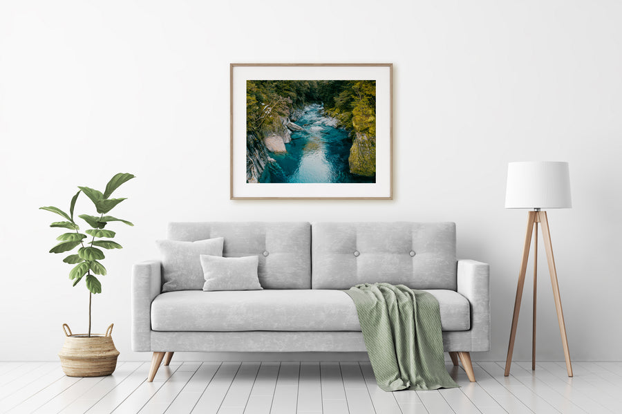 Blue Pools New Zealand Photo Print Oak Frame