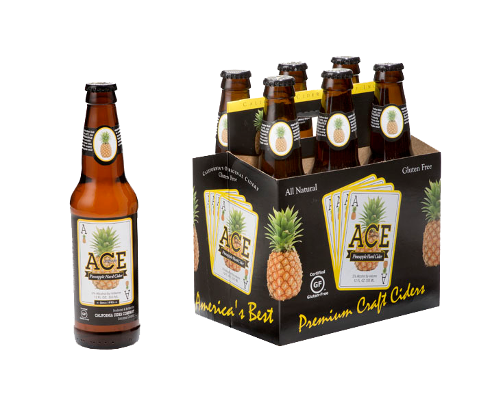 Ace Pineapple Hard Cider, 6 Pack 12oz Bottle