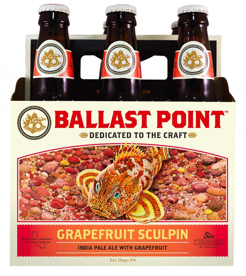 Ballast Point Brewing,  Grapefruit Sculpin IPA, 6 Pack Bottle