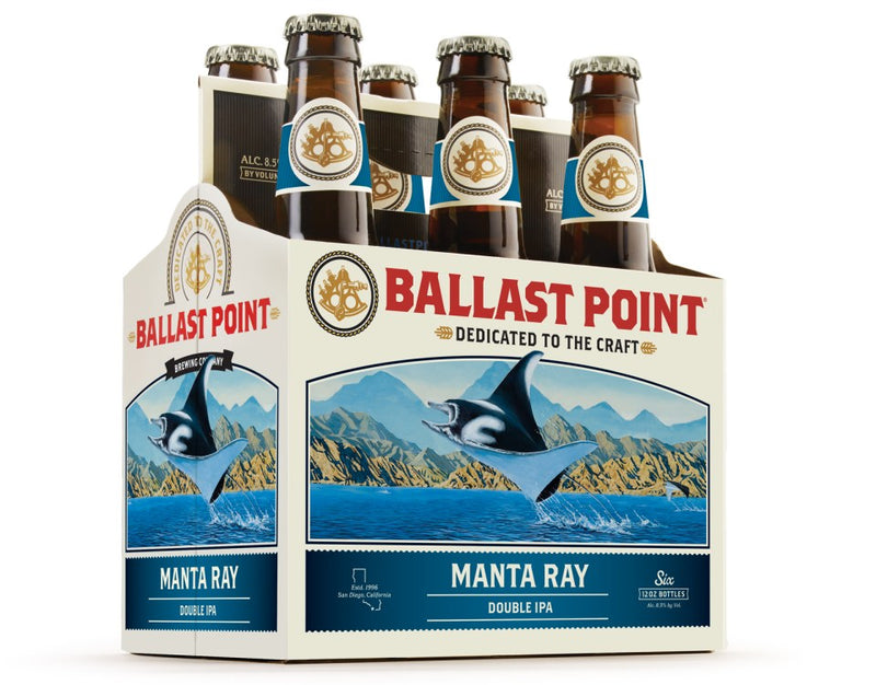Ballast Point Brewing,  Manta Ray Double IPA, 6 Pack Bottles