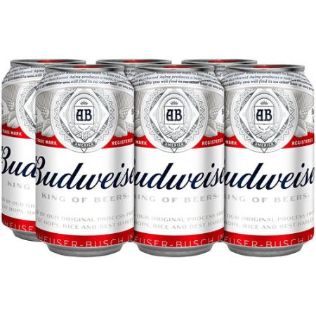 Budweiser Beer, 6 pack, 12 fl oz Can