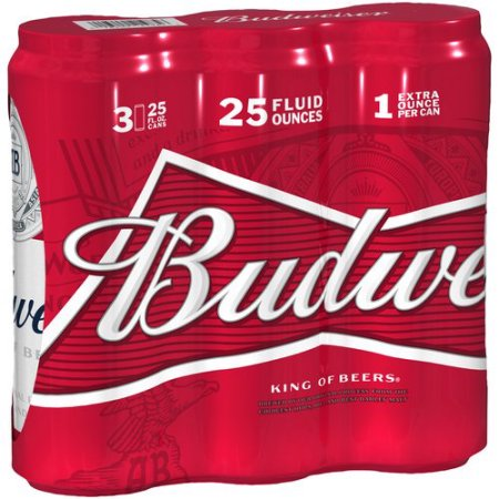Budweiser Beer, 3 pack, 25 fl oz Can