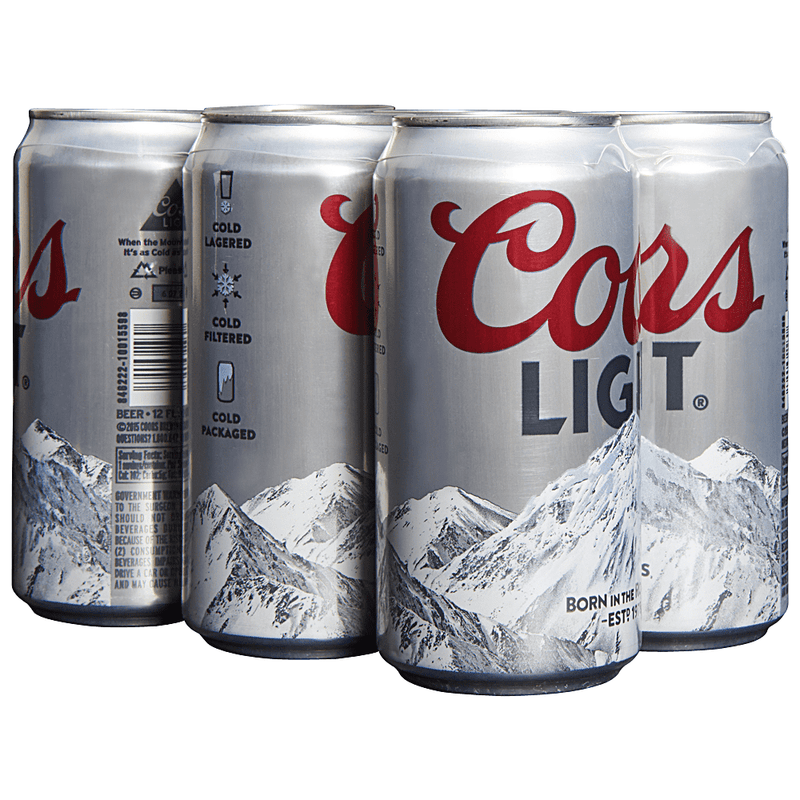 Coors Light, 6 Pack, 12 oz  Can