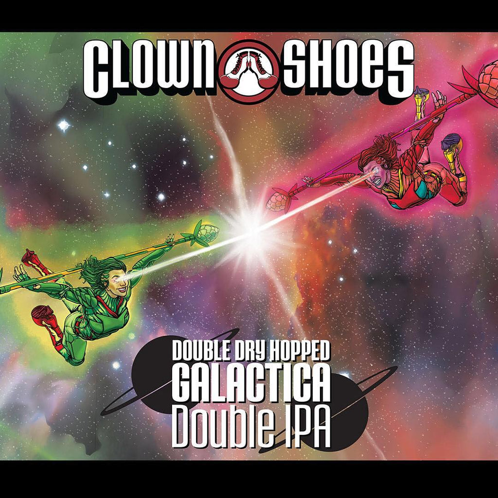 Clown Shoes Beer, Double Dry Hopped Galactica Double IPA, 6 Pack Cans.