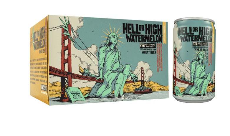 21st Amendment Brewery, Hell or High Watermelon Wheat Beer, 6 Pack Can