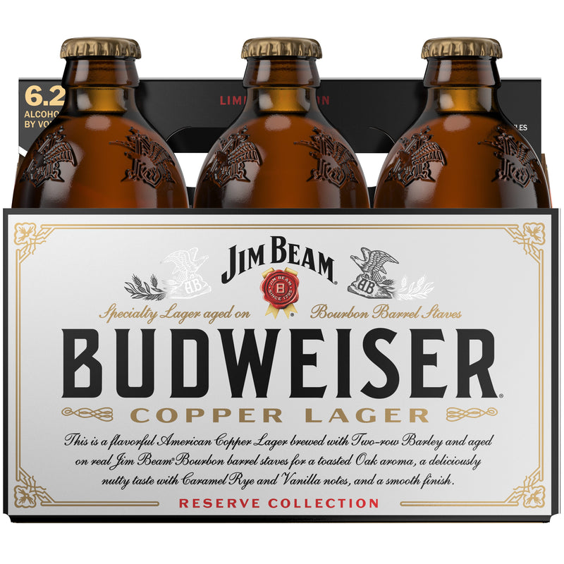 Budweiser Reserve Copper Lager Aged on Jim Beam Bourbon Barrel Staves, 6 Pack Bottle